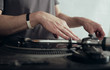 Lifestyle background - dj scratching on vinyl