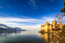 Castle On A Lake Front With Bl...