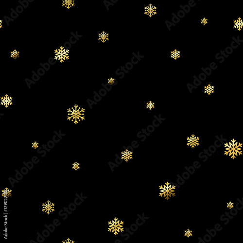 Christmas Snowflake Seamless Pattern Gold Snow Black
