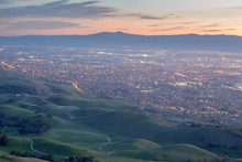 Silicon Valley And Green Hills At Dusk. Monument Peak, Ed R. Levin County Park, Milpitas, California, USA.