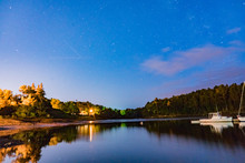 Stars And Reflections On The Union River In Ellsworth Maine At The Watefront Park And Marina