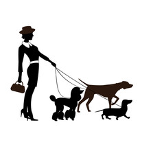 Fashionably Dressed Girl With The Pedigree Dogs