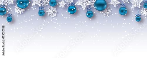 christmas baubles banner  - vector xmas / happy new year background (blue) © Wojciech Rochowicz