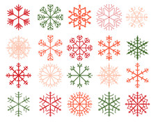 Winter Snowflake Designs, Abstract Geometric Shapes In Green, Red And Pink Colors