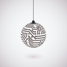 Vector Circuit Board Christmas Ball