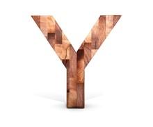 3D Decorative Wooden Alphabet, Capital Letter Y