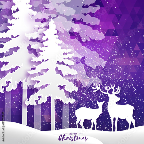Spoed Foto op Canvas Violet Merry Christmas Snow Winter forest, landscape with deer couple.