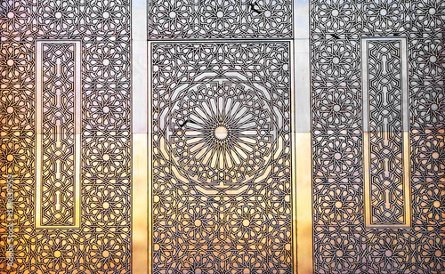 Poster Maroc Detail of the decorations of Hassan II mosque in Casablanca, Morocco