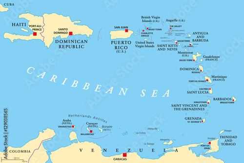Lesser Antilles political map The Caribbees with Haiti the