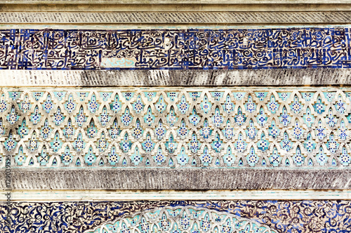 Poster Maroc The Bab el-Mansour Gate decorated with impressive zellij (mosaic ceramic tiles), Meknes, Morocco, Africa