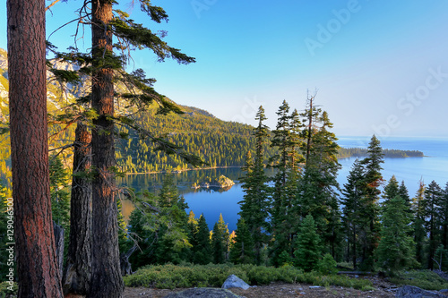 Printed kitchen splashbacks Lake Pine forest surrounding Emerald Bay at Lake Tahoe, California, U