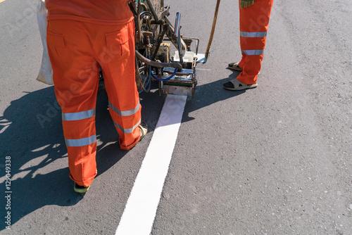 Fotografie, Obraz  Thermoplastic spray marking machine during road construction