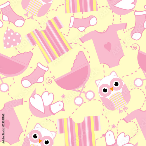 Seamless Background Of Baby Shower Illustration With Cute Pink Baby Tools And Owl On Yellow Background Suitable For Baby Wallpaper Postcard And Scrap Paper Buy This Stock Vector And Explore Similar