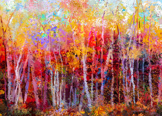 Obraz Oil painting landscape, colorful autumn trees. Semi abstract paintings image of forest, aspen tree with yellow, red leaf. Fall season nature background. Hand Painted Impressionist, outdoor landscape