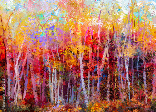 Oil painting landscape, colorful autumn trees. Semi abstract paintings image of forest, aspen tree with yellow, red leaf. Fall season nature background. Hand Painted Impressionist, outdoor landscape - 129052381