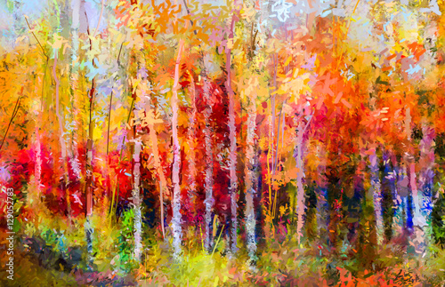 Photo  Oil painting landscape, colorful autumn trees