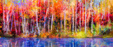Oil painting colorful autumn trees. Semi abstract image of forest, aspen trees with yellow - red leaf and lake. Autumn, Fall season nature background. Hand Painted Impressionist, outdoor landscape - 129052938