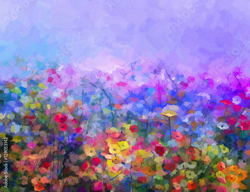 Abstract colorful oil painting purple cosmos flower, daisy, wildflower in field. Yellow and red wildflowers at meadow with blue sky. Spring, summer season nature background. - 129053142