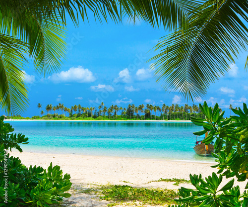 Poster Tropical plage beach with Maldives
