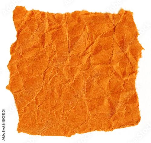 Fotografia, Obraz  Crinkled torn construction paper background. Orange color.