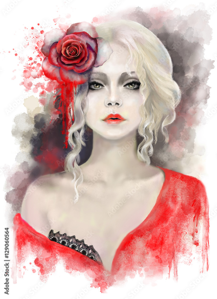 portrait  beautiful woman with blonde curly hair, watercolor painting, splash paint. Digital illustration. Red rose. passionate, impassioned,  fantasy