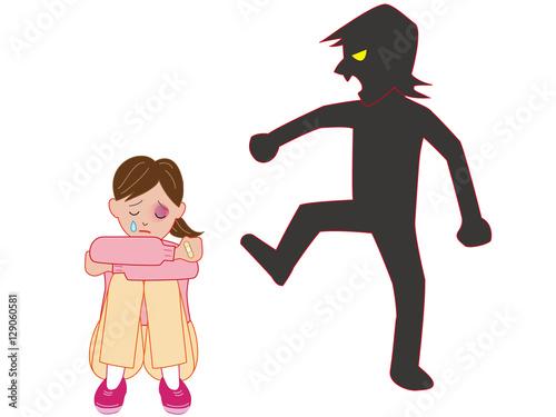 Fotografie, Obraz  暴力を受けて泣く女性