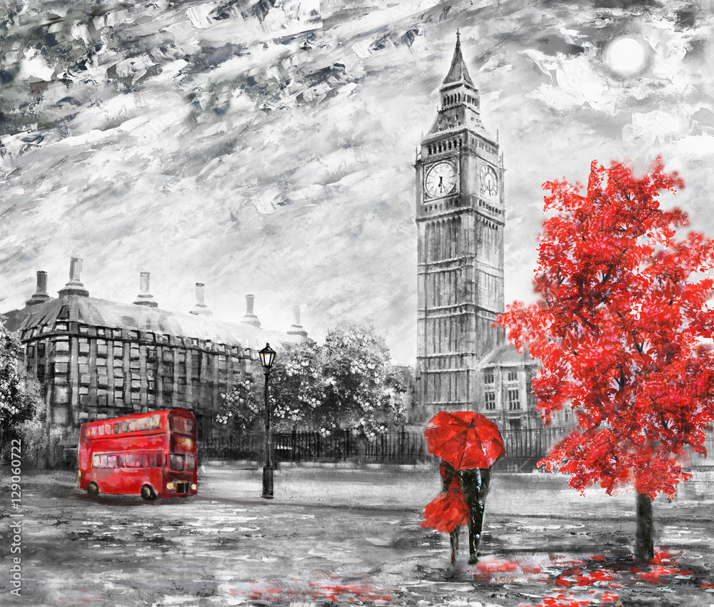 Fototapety, obrazy: oil painting on canvas, street view of london. Artwork. Big ben. man and woman under a red umbrella, bus and road. Tree. England