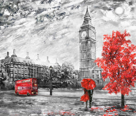 Fototapetaoil painting on canvas, street view of london. Artwork. Big ben. man and woman under a red umbrella, bus and road. Tree. England