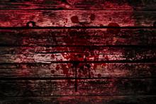 Bloody Wall, Grunge Of Blood Splash On Wood Dark Tone, Murder Or Killer Death Concept.