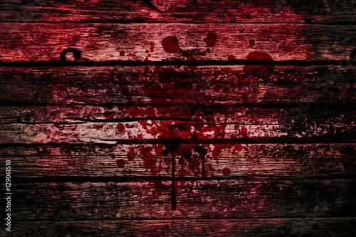 Fotografie, Obraz  bloody wall, grunge of blood splash on wood dark tone, murder or killer death concept