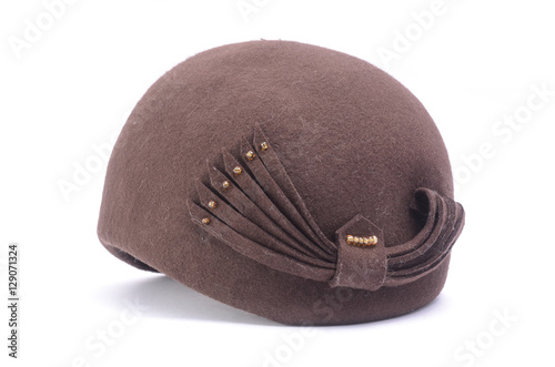 52d01232747b2 classic female bowler hat isolated on white - Buy this stock photo ...