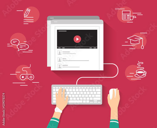 Video tutorial streaming isolated on red background