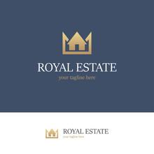 Royal Estate Logo On Blue Background