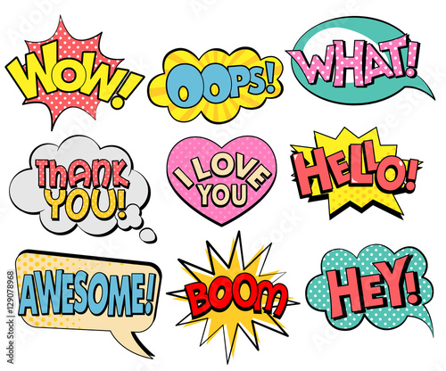 Poster Pop Art Collection of speech bubbles in retro style