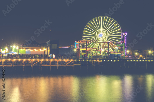 Santa Monica Beach At Night California Usa