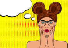 Pop Art Surprised Brunette Woman Face. Comic Wooman With Speech Bubble. Vector Illustration.
