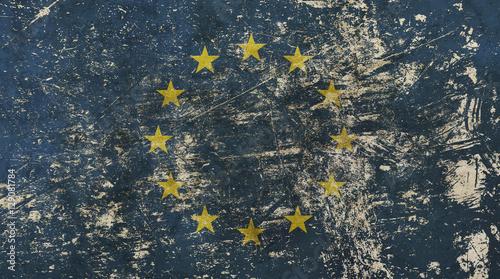 Valokuva  Old grunge vintage faded European Union EU flag