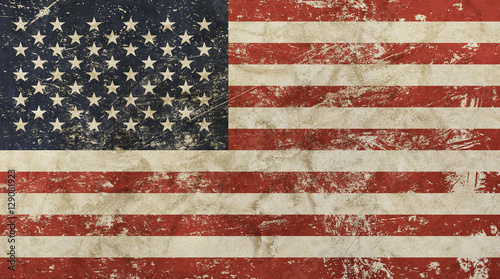 Fototapeta Old grunge vintage faded American US flag