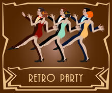 А Couple Dancing The Charleston: Retro Party Invitation Design Template. Vector Illustration..