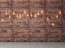 Red Brick Empty Wall With Light Bulbs, Background, 3d Illustration