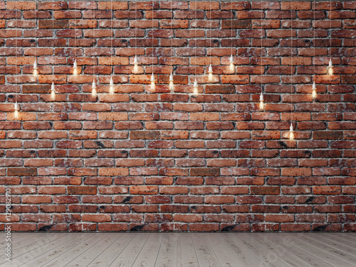 Red brick empty wall with light bulbs, background, 3d illustration - 129082910
