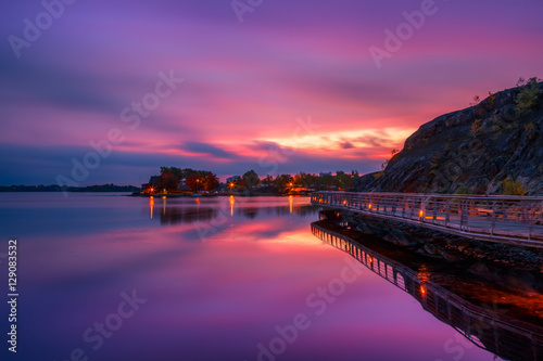 View of Ramsey Lake, Ontario, Canada during sunrise