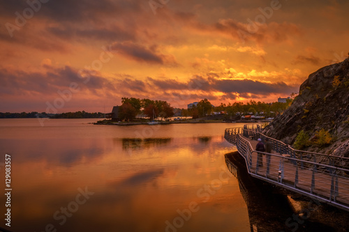 View of Ramsey Lake, Ontario, Canada during sunrise Wallpaper Mural