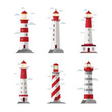 Cartoon Lighthouse Icons. Vector Beacon Or Pharos Set For Sea Security Illustration