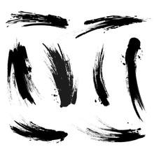 Vector Black Mascara Brush Trace Strokes Isolated On White Background