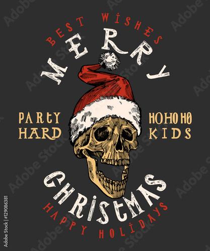 merry christmas santa claus skull print tough christmas lettering rock christmas t shirt print - Rock Christmas