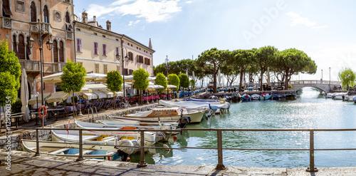 Marina in Desenzano town at Lake Garda in Italy Fototapeta