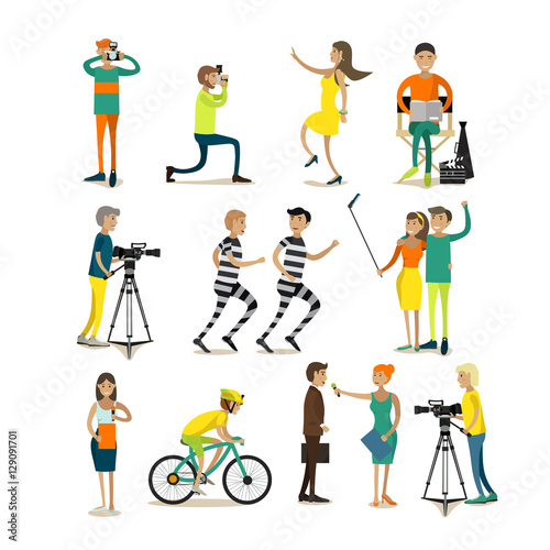 Vector set of photo and video concept design elements, icons