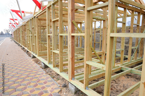 The wooden structure of the building. Wooden frame building ...