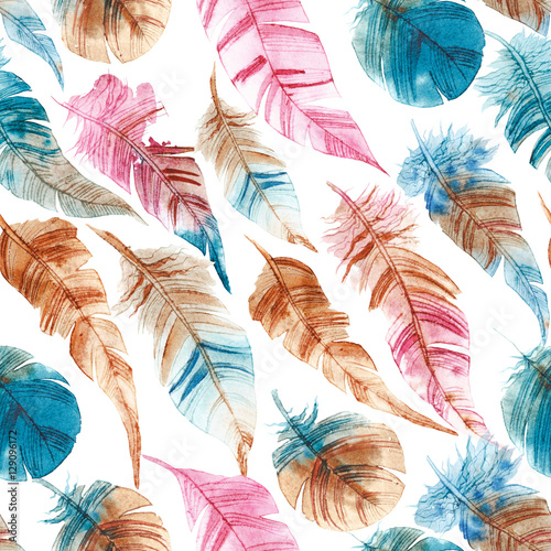Cotton fabric Seamless pattern of hand drawn watercolor feather
